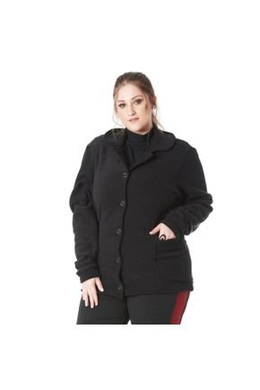 claubitex casaco preto plus size 4306
